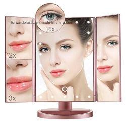 BSCI, CMA, Sqp, Wal-Mart Trifold certifié en usine, miroir de courtoisie à LED/miroir de maquillage, 22 voyants LED