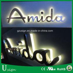 Водонепроницаемый светодиодный Зеркальный Металлический знак для магазина