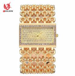 Boîtier carré de la femme élégante strass alliage creux montre-bracelet Bracelet Chain #V352