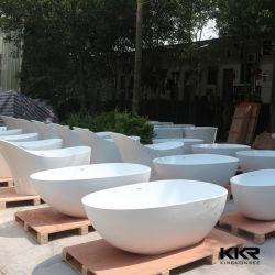 Vasca da bagno di superficie solida acrilica dell'hotel di marmo artificiale bianco puro di Kkr