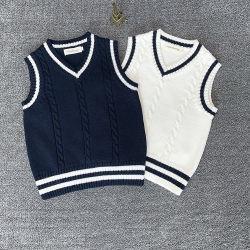 カスタマイズされた熱い販売新しいデザインカシミヤ織のしまのあるV首のプルオーバーTanktopはセーターをからかう