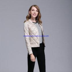 Comercio al por mayor de las mujeres de la luz de la moda y Slim Edredones Coat mujeres abajo abrigo corto lleno de plumas de ganso blanco
