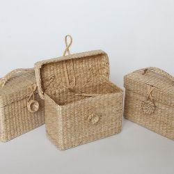 Contenitore piccolo in rattan artigianale con coperchio per sfusi Contenitore per contenitore di gioielli con cestino di paglia vintage con organizer per articoli vari