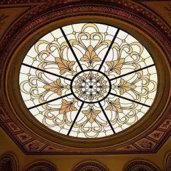 Arte cores vidro decorativo cúpula do painel de janela da Igreja