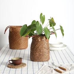 Home Giardino Seagrass pieghevole cesto di lavanderia cestini di stoccaggio cestello di appendere cestello Vaso vaso vaso vaso vaso vaso vaso Planter Basketry rattan