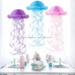 3 色ブルーピンクパープル優美な 3 次元のマリンジェリフィッシュの装飾 ペンダントバーテーマ結婚披露宴誕生日パーティーアクティビティフェスティバルデコレーション小道具