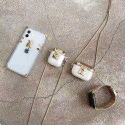 حقيبة أنيقة بتصميم أنيق لمونوغرام براون كروس بووك من الجلد مربع حقيبة السيارة لهاتف Apple iPhone 7 8 X XR. 11 12 علبة Max شفافة