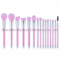 15pcs brillant poignée en plastique Brosses de maquillage Beauty Tools OEM