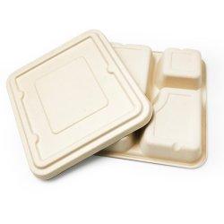 صينية مربعة رباعية الأبعاد قابلة للتحلل الحيوي وأدوات المائدة القابلة Compostelable