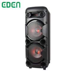 듀얼 8인치 휴대용 목재 전문가용 충전식 멀티미디어 DJ 가라오케 LED 라이트 트롤리 Bluetooth PA 스피커가 있는 사운드 박스