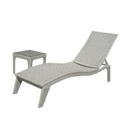 Plástico blanco exterior Rattan Silla de playa Jardín Salón Cama resistente al agua muebles con mesita