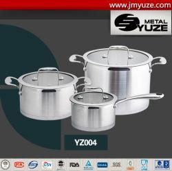 6PCS roestvrij staal Cookware die met het Deksel van het Glas, Inductie, Keukengerei, het Toestel van het Huis wordt geplaatst