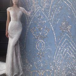 백색 수를 놓은 패턴 메시 레이스 직물 Sequins