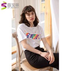 Wholesale Casual bordado personalizado Crewneck de manga corta 100% algodón Camiseta para mujer