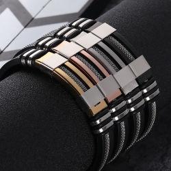 La nouvelle boutique de bijoux Bracelets de sexe masculin Des hommes d'acier Titane Bracelet en silicone