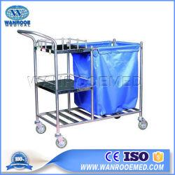 Bss024 Instrumento Hospitalar de Aço Inoxidável Carrinho de linho Trolley com saco de pó