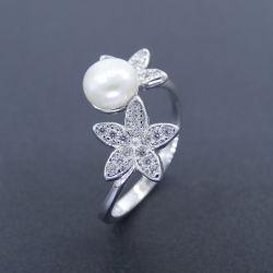 Flor Pentagram Engate Pérola prateado jóias de platina Ring para meninas