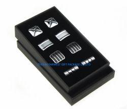 صندوق ورق Blakc مربع ورقاص الورق مع Vevlet أسود في الداخل حجم صغير بالجملة