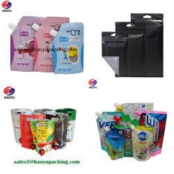 요구르트 물 주스 우유 음료를 위한 비닐 봉투 향낭 밀짚 부대 Alumium 지플락 포일 제정성 포장 부대를 포장하는 주머니 식품 포장 음료를 위로 서 있으십시오