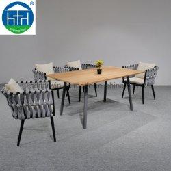호텔 우드 테이블과 의자 다이닝 세트용 야외 로프 우븐 티크 프레임