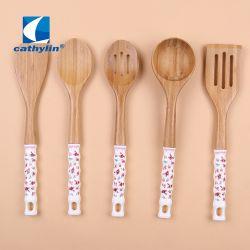 Vendita All'Ingrosso Di Alta Qualità Personalizzato Eco-Friendly Bamboo Utensili Con Manico In Ceramica