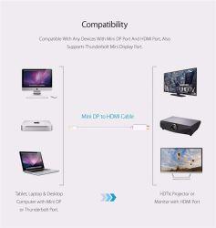 Gold-Plated, 1080P Разъем - разъем Mini Displayport (Thunderbolt) к разъему HDMI кабеля адаптера 6 футов и 1,8 м