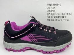 Leer en PU Upper Lace Up Lady Sport Stock Schoenen