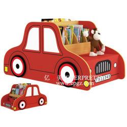 Mobiliario de madera de estantería de forma coche para niños