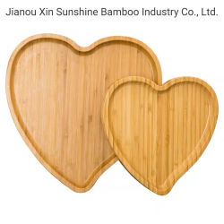 Herzförmige Bambus Serviertablett Essen Holztablett