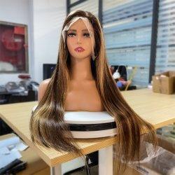 Transparante Topper Wig Mink China Long Brazilian 40 inch diep Krullend getje menselijk haar Wig Lace Front