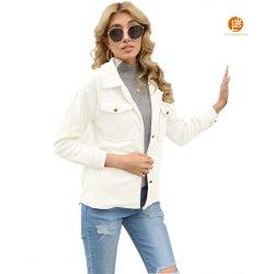 Shangyan Langarm-Jacke mit Revers und Knopf und kurzer Tasche für Damen