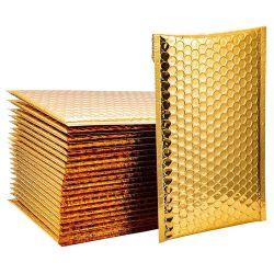 El logotipo de tamaño personalizado rasgar la prueba de sobres de papel de aluminio metálico oro burbuja acolchado Mailer
