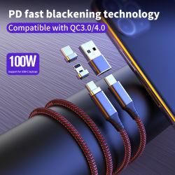 2020 sorprendente el modelo 5A Carga rápida PD 100W Cable USB magnético tipo C y 3 cabezas cuadradas, tipo C para Laptop