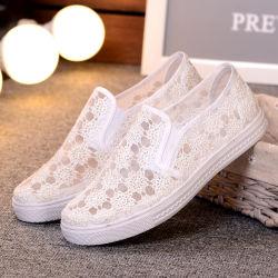 Летние белые пробуксовки колес на установите женщин Sneaker Pimps кружевом платье балет квартир обувь