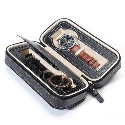 공장 블랙 브라운 럭셔리 가죽 시계 포장 2 4 8 사용자 지정 로고가 있는 슬롯 시계 상자