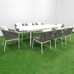 Веревки плетение из алюминия в саду обеденный стул садовой мебелью на патио