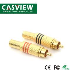 Chapado en oro Plug RCA AV RCA macho conector tipo de soldadura sin conexión de seguridad de Audio de tornillo de CBN-033 Enchufe Jack de audio