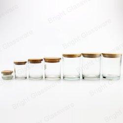 Commerce de gros 2oz 6oz 8oz 10oz Pot bougie en verre transparent avec couvercle en bois