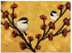 Grandes Aves pintados à mão sobre a arte de parede de madeira de Árvores pintura a óleo moderna decoração contemporânea de arte (40 x 30 polegadas) GF-P19052742