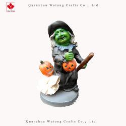 Strega verde di Halloween con il mestiere del partito della resina del fantasma della zucca