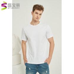 Uomo poco costoso su ordinazione all'ingrosso che copre le magliette in bianco normali 100% del T di Crewneck del cotone casuale di base di bianco per gli uomini