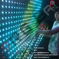 부드러운 투명 LED 그리드 유연한 벽면 디스플레이 커튼 화면