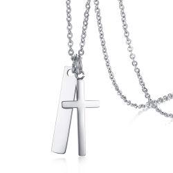 La moda en forma de rectángulo personalizado en blanco la cruz militar de acero inoxidable Dog Tag Conjunto de collar