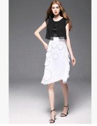 Preto e Branco Patch geométrica atingiu o vestuário sem mangas de cor