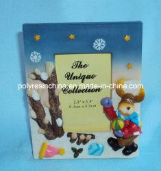 Polyresin resina/Marco de fotos de Navidad con Santa Claus