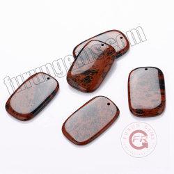 """Etiqueta de retângulo Obsidiana mogno 0,8"""" Red Semiprecious Gemstone pingente de cristal"""
