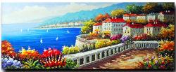 유럽식 삽화 지중해 꽃 벽 그림 화포 유화