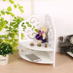 Accueil coin blanc pur décoratifs en bois d'étagères, 2 niveaux étanche creux WPC Matériau Matière plastique étagère d'empilage