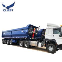 총 45cbm 80톤 4개의 차축 U자형 덤프 트럭 트레일러 / 덤프카 세미 트레일러