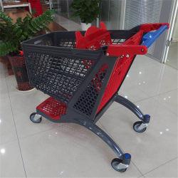 슈퍼마켓에 의하여 사용되는 플라스틱 쇼핑 카트 새로운 디자인 가득 차있는 플라스틱 트롤리